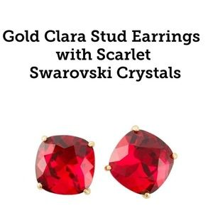 Scarlet gold Swarovski Clara Earrings